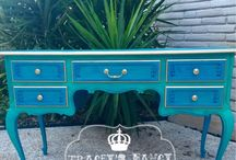 Peacock coloured furniture
