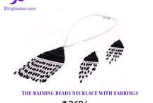 Beaded Necklace with Earrings - Fashion Jewelry