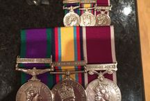 Mounted military medals / British military medals mounted ready to wear in a medal brooch bar. Mounted to ministry of defence standard with the appropriate medal ribbon and ribbon clasps.
