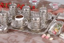 Lüx Osmanlı LALE Motifli 6 Kişilik Kahve Seti - 9 Parça - Gümüş