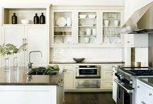 Kitchens with dark wooden floors