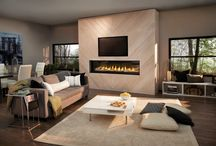 Transitional / Transitional design adeptly blends the best elements of both Traditional and Contemporary styles. It is rooted in Traditional principles but with an updated, modern approach. It's common to have a widescreen TV over the fireplace.