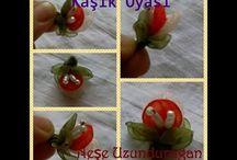 organze tülden çiçekler