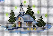 Haft krzyżykowy Boże Narodzenie