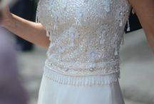 Pastel Vintage Bridesmaids / pretty floaty knee length chiffon skirts with vintage beaded tops made by Ami Elisah Bridal ami-elisah.co.uk