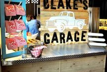 Vintage garage themed boy's bedroom / We're thinking of updating our toddler's bedroom once he moves to a twin bed.  I love this theme!  Now if I can just get Hubby to build a fabulous bed to go with it...