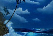 Paintings of moonlight lit beach