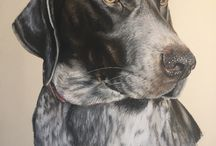 German Shorthaired Pointers / GSP art by Gillian Ussher Art