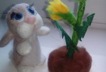 """needle felted bunny / needle felted bunny  spring is upon us """"blow and make a wish bunny""""  x"""