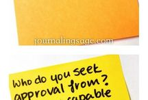 Journal love / A board to hold lots of fun ideas for keeping a journal, creative, fun and serious.