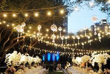 Wedding Table Settings / Flowers, decorations and lights