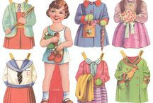 Paper Dolls - 1950s and 1960s Mainly British / Cut paper dolls from my childhood. Incomplete sets. None have covers, so cannot be identified.Well-loved and played with.