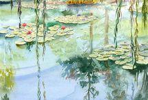 Aquarell Wasser Landschaft