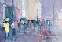 Watercolor. Rain.  / Artist: Mark Langbein