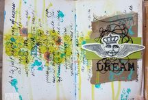 Mixed-Media Art Journal Spreads