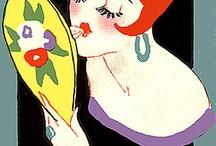 Art deco illustration / /Bridge Tally Cards