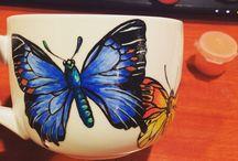 Mad M. Oiselle Mugs / Hand painted, one-of-a-kind mugs!