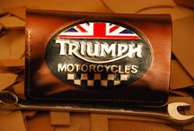 Triumph motocycle riders wallet , custom made