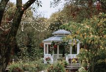 Old orchard wedding site. / outdoor ceremony site in orchard