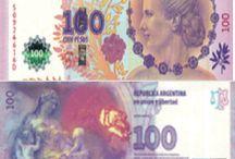 Billets Argentine / Les billets de banque Argentine en circulation sont : 2, 5, 10, 20, 50, 100, 500 pesos argentin. De manière générale il est plutôt difficile de trouver des pesos Argentins en dehors de l'Argentine, car cette monnaie est très instable, se dévalue régulièrement.