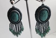 Earrings beads embroidery