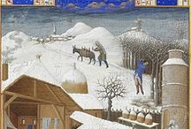 MS - Les Tres Riches Heures / The Très Riches Heures du Duc de Berry is a book of prayers to be recited at canonical hours created for John, Duke of Berry. The book was worked on, over a period of nearly a century, in three stages. Started by the Flemish Limbourg brothers (Paul, Hermann & Jean) from 1412-1416, it was completed by Barthélemy van Eyck & Jean Colombe.  Housed in the Musée Condé, Chantilly, France. Possibly the most magnificent surviving French Gothic manuscript, certainly the most widely known.