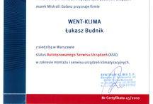 Certyfikaty firmy Went-Klima