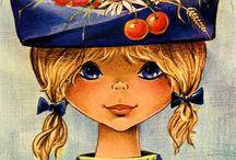 Vintage girly postcards