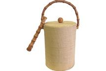 BTOD / Raffia ice bucket and tongs  5.00 4/6/15 Savers orange ct