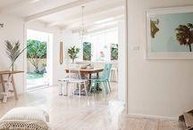 Whitewashed floorboards