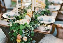 Al Fresco Wedding Design / Wedding inspiration for your outdoor, elegant, casual and comfortable wedding. Make your guests feel at home with farm house seating, candles, lighting, and soft wedding flowers.