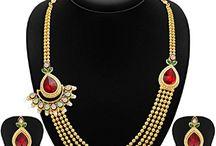 Dazzling Indian Wedding Party Wear Strand Jewelry Set
