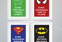 Super heroes decorations / Bathroom art