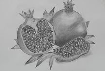 pomegranate with pencil