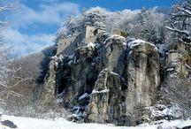 Il monte del Santo / Il Santuario della Verna avvolto da un manto di neve.