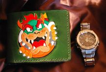 Mario nintendo bowser leather wallet,custom made by leatherworkspl