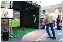 Football Simulator / The PSW Football simulator uses state of the art technology that records the velocity and direction of the ball and can determine whether the player has been accurate in hitting the target and beating the goalkeeper.
