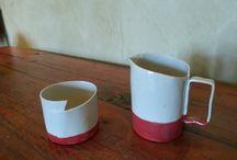 Milk Jugs and Sugar pots / Small handmade milk jugs and sugar pots.