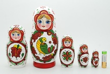 Traditional matryoshka nesting dolls /  5 piece matryoshka doll set is made in Gzhel style depicting tales. This set is made by hand in Russia. It is made of linden wood and then painted by a professional matryoshka doll artist. After skillfully hand painting this set is varnished with gloss finish. It is a typical matryoshka doll, and each smaller piece of the set fits into the next larger one.