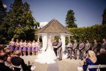 Wedding Ceremony / Newlands Garden Gazebo or Oak Terrace adorned in organza & stylish stone floral urns!