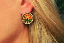 Hand Painted Vintage Yellow Rose Earrings & Hand Painted Gift Box / by Painted Fancy