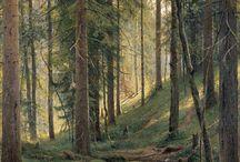 Forest village scene
