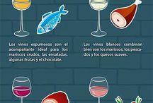 Etiqueta en la mesa y vinos