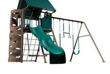 Metal Lifetime Big Stuff Swing Sets / Allow children to have hours of entertainment while meeting or exceeding safety standards for backyard playground equipment. The climbing wall is has hand and foot holds cut out of the panel to provide a safer climbing experience. It is virtually maintenance free and includes simple assembly instructions with illustrations.