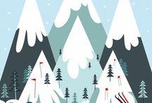 TRAVEL ILLUSTRATION : Ski / Fresh white snow, high mountains, and a pair of skis = wintery fun.