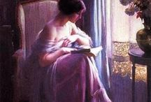reading girl paintings