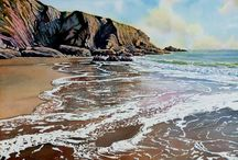 Watercolour seascapes / The art of Ruth Coulson aka Rebecca Bryn. Paintings of Pembrokeshire
