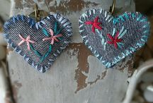Hand stitched earrings / Lovely hand stitched earrings that will make you smile!!!
