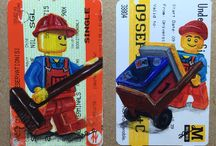 Lego travel tickets / My series of Lego paintings on train tickets.. All about the journeys we take everyday, busy days, days out, work life, happy times...making memories.