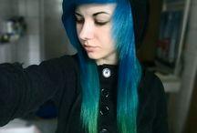 blue to green ombré Hair